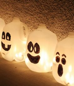 miss jordyn is gonna have a blast making these holiday pinterest milk jugs and milk jug crafts - Milk Carton Halloween Ghosts