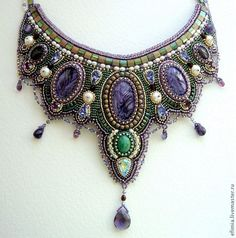 Beaded embroidered jewelry
