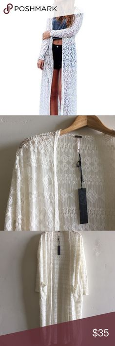 NWT Nordstrom Poof! Lace Maxi Cardigan Brand new with tags beautiful semi- sheer creamy white lace open cardigan with pockets.  First photo is similar cardigan to show style.  Last three photos are of cardigan I'm selling.  In new condition. Poof! Sweaters Cardigans