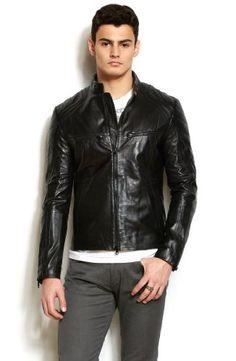 Simple. Armani Exchange Mens Leather Moto Jacket $528 #Jackets #Blazers #Apparel