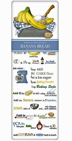 Banana Bread Recipe 100% Cotton Flour Sack Dish Towel Tea Towel