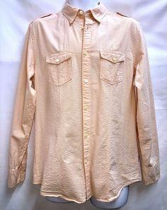 d24ce669 Calvin Klein Long Sleeved Button Front Shirt M Light Orange Tiny Seersucker  #CalvinKlein #ButtonFront