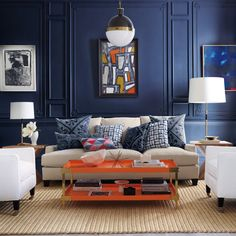 Blue and Orange - A Hot Color Palette for Fall 2019 Blue And Orange Living Room, Blue Rooms, Living Room Furniture, Living Room Decor, Dining Room, Room Interior, Interior Design, Interior Decorating, Decorating Ideas