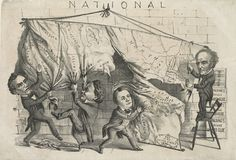 A crude nonpartisan satire, parodying all four candidates in the 1860 presidential election. A map of the United States hung on a wall is being torn apart by three of the candidates.