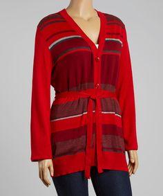 Red Gradient Stripe Cardigan - Plus | zulily
