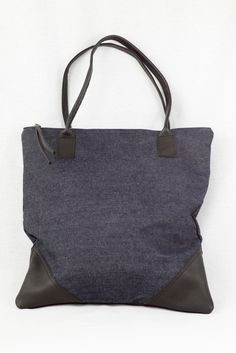 Large Leather and Denim Tote.  Handmade!  www.mooreaseal.com