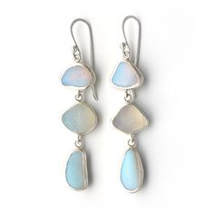 Three drop translucent sea glass earrings set in silver, by Tania Covo
