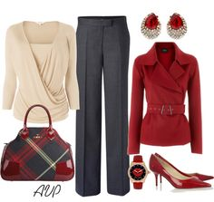"""Charcoal, Red, and Cream"" by amy-phelps on Polyvore"