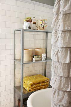 metal Ikea HYLLIS shelf. Only $14.99.  For new bathroom