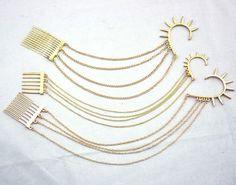 Gold Plated Rivet Tassels Ear Cuff Tuck Comb Hair pin hair