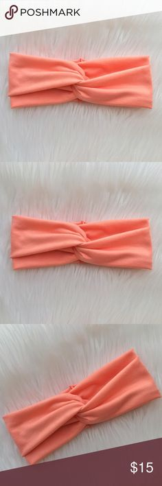"""Turban Headband in Bold Peach Gorgeous turban headband. Must have accessory!!! no more bad hair days. Wear it with your hair up or down. Handmade.   Care: Hand Wash cold and lay flat to dry Materials: made with a soft and stretchy fabric.  Measures about  3"""" in the back *Color of actual product purchased may slightly vary in hue/ color from photograph due to camera lighting. Mercedesbandz Accessories Hair Accessories"""