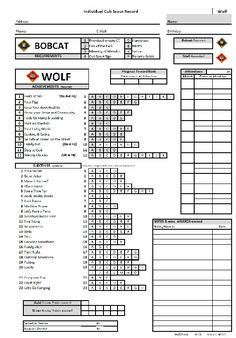 Cub Scout Wolf Tracking Record Sheet with the New Modified