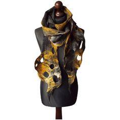 Felted scarf felt scarf felted collar handmade art to wear grey yellow... (€68) ❤ liked on Polyvore featuring accessories, scarves, felt scarves, grey scarves, yellow scarves, bohemian scarves and gray scarves
