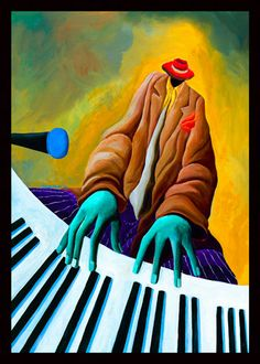Electric Fingers by Ivey Hayes African American Artist, African Art, American Artists, Music Illustration, Illustrations, Piano Y Violin, Caribbean Art, Jazz Art, Renaissance Artists