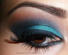 - Mac painterly paintpot as base  - mac delft paintpot on lids as base  - mac teal pigment on lids  - mac contrast and deep truth e/s mixed in crease  - mac texture e/s above crease  - mac carbon e/s outer v  - mac ricepaper e/s as highlight  - barry m liquid liner  - urban decay zero pencil smudged on waterline  - ardell 105 lashes