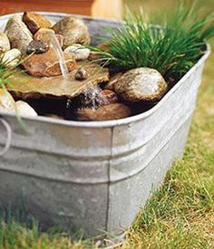 Build a mini water garden: These three potted ponds are sure to inspire you to add your own soothing water feature to your space. Build a mini water garden: Th