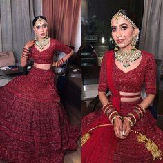 Party Wear Indian Dresses, Indian Bridal Outfits, Indian Bridal Fashion, Indian Bridal Wear, Indian Wedding Couple Photography, Indian Wedding Bride, Bridal Wedding Dresses, Red Flower Girl Dresses, Bridal Lehenga Collection