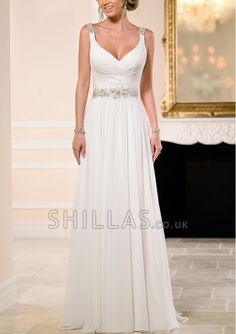 Crystals Shoulder Straps Chiffon A-Line With Ruched And Crystals Sash - 1640022 - Wedding Dresses
