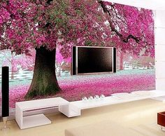 3D Wallpaper Bedroom Mural Roll Romantic Purple Tree Wall Background Home TV