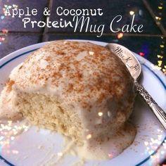 Coconut and apple Mug cake Ingredients 2tbsp of cinnamon swirl protein powder (@cellucor) - can use vanilla 2tbsp coconut flour 2tbsp unsweetened apple sauce 2tbsp almond milk 1 egg white 1 tsp...