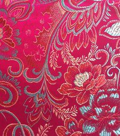 Brocade Fabric-Floral Fuchsia Teal