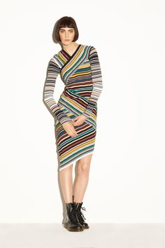 Milly | Pre-Fall 2016 | 26 Multicolored striped long sleeve mini dress with asymmetrical hem