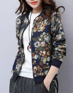 72f217fb6cc8d  VIPme Navy Floral Printed Zippered Front Bomber Jacket ❤ Get more outfit  ideas and