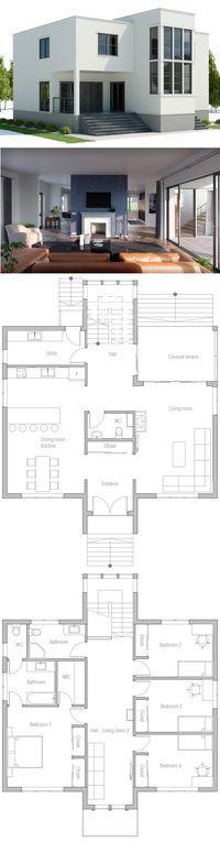 Hausplan \u2026 Modern houses  Townhouses Pinterest Modern house - maison de 100m2 plan