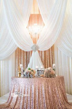 Sparkly Rose Gold Sequin Tablecloth