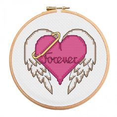 Angel Hearts are forever with this lovely Valentine's cross stitch chart available exclusively from StitchMeGifts. stitchme.gifts/...