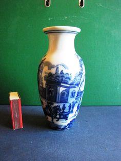 Vintage White & Blue Old Vase  Home Decor #319