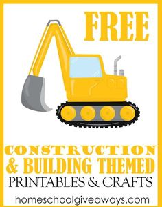 FREE Construction and Building Themed Printables and Crafts - Homeschool Giveaways Construction Theme Classroom, Construction For Kids, Construction Crafts, Construction Birthday Parties, Construction Birthday Invitations, Construction Business, Construction Design, Construction Worker, Transportation Theme