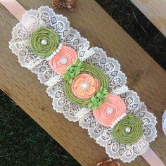 Coral and Green. Rose Headband, Diy Headband, Baby Headbands, Diy Flowers, Crochet Flowers, Fabric Flowers, Baby Corsage, Maternity Sash, Shabby Chic Crafts
