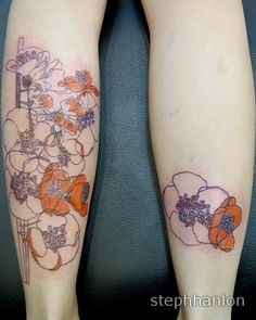 ink and watercolor flowers tattoo by Steph Hanlon
