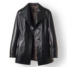 Black Italian leather jacket for women