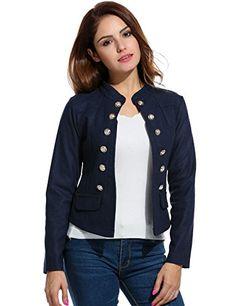 1b5086c8920 Elesol Womens Fashion Casual Long Sleeve Slim Office Blazer with Stand  Collar Navy Blue M -