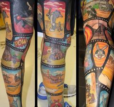 25 Incredible Tattoos Inspired by Looney Tunes Full Leg Tattoos, Love Tattoos, Body Art Tattoos, Tattoos For Guys, Kid Tattoos, Bunny Tattoos, Maori Tattoos, Cartoon Character Tattoos, Cartoon Tattoos