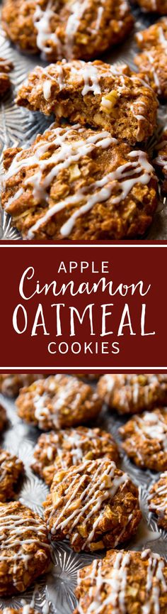 Soft and chewy apple cinnamon oatmeal cookies with crisp edges and tons of flavor! So quick and no mixer! Recipe on sallysbakingaddiction.com