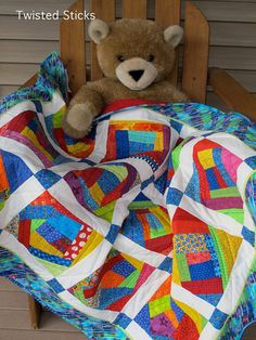 Bright Colored Handmade Baby Quilt crazy quilt by twistedsticks, $195.00