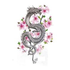Dragon Tattoo With Flowers, Small Dragon Tattoos, Dragon Tattoo For Women, Japanese Dragon Tattoos, Dragon Tattoo Designs, Small Tattoos, Asian Dragon Tattoo, Japanese Flower Tattoo, Mini Tattoos