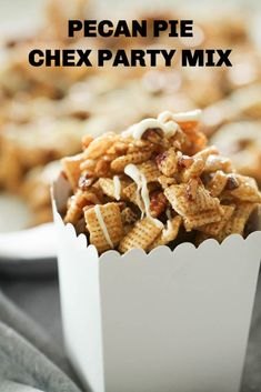 Pecan Pie Chex Mix--This Pecan Pie Chex Party Mix is the perfect combination of sweet and salty. Crunchy Chex Party Mix and pecans coated in soft caramel and drizzled with white chocolate make this a holiday treat everyone will love! Snack Mix Recipes, Candy Recipes, Snack Mixes, Chex Recipes, Cereal Recipes, Christmas Recipes, Yummy Recipes, Recipies, Köstliche Desserts