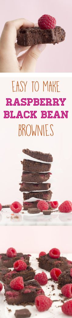 Delicious and moist Raspberry Black Bean Brownies. These black bean brownies are vegan and gluten free. Easy to make black bean brownies with raspberries Delicious Vegan Recipes, Healthy Dessert Recipes, Gluten Free Desserts, Healthy Desserts, Healthy Recepies, Vegan Treats, Vegan Foods, Vegan Baking, Healthy Baking