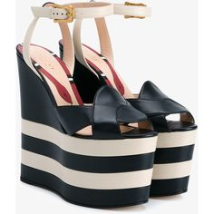 Gucci Gucci Striped Platform Sandals ($1,100) ❤ liked on Polyvore featuring shoes, sandals, wedge sandals, blue platform sandals, gucci shoes, white wedge shoes and snake sandals