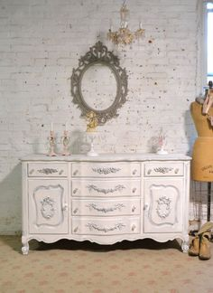 Painted Cottage Chic Shabby French Server/ Buffet / Sideboard SV641 Kitchen Dining, Dining Room, French Dresser, Buffet Server, Painted Cottage, Glass Knobs, Sideboard Buffet, French Provincial, Cottage Homes