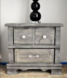 "Grey weathered look diy. Doing this with the dresser and nightstand that I've had since I got a ""big girl bedroom"" at age 4. After 24 years they're still perfectly good, they just need a little facelift!"