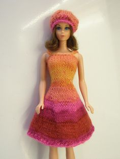 Knitted Barbie dress, self-striping sock yarn.  I learned to knit by making things for my dolls :)