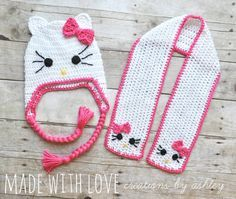 Crochet Hello Kitty Hat and Scarf Set girl baby by MadeWithLoveCba, $42.00