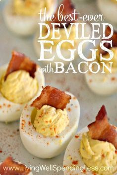 Best Deviled Eggs with Bacon Best Appetizer Recipes Snack Ideas Easter Food Ideas via lwsl Best Appetizer Recipes, Best Appetizers, Easter Recipes, Egg Recipes, Holiday Recipes, Snack Recipes, Cooking Recipes, Easter Food, Easter Desserts