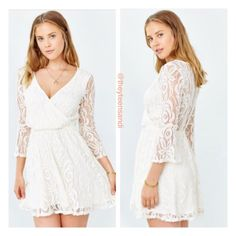 Urban Outfitters White Ivory Lace Surplice Dress Urban Outfitters White Ivory Lace Surplice (Diagonally Crossed Neckline) Dress. 3/4 bell sleeves. Fully lined. 80% Cotton/20% Nylon. Lining: 95% Rayon/5% Spandex. Sold out online. Urban Outfitters Dresses Mini