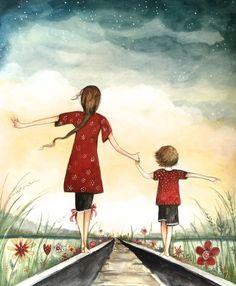 madre e hijo en el arte original de ferrocarril 16 x 20